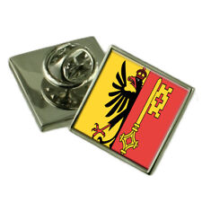 Geneva City Switzerland Flag Lapel Pin Engraved Box