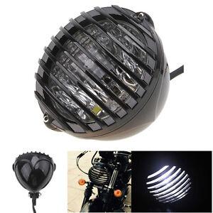 Motorcycle Finned Grill LED Headlight For Suzuki Chopper Bobber Cafe Racer Black