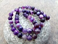 8 mm Genuine Round Purple Onyx Beads - Grade A + - 1 mm Hole