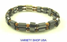 Tiger's Eye Double Strand Magnetic Hematite Bracelet & Magnetic Clasp HB10DBLTE