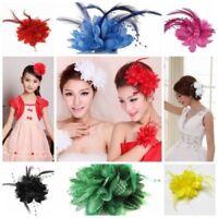 Women Red Flower Hair Clip Feather Barrette For Wedding Bridal Dancer Headband