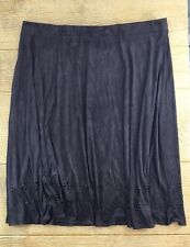 Avenue Womens Skirt Size 18/20 Brown Suede Dressy Cut Out Flowy A-Line