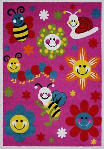Cute Bees and Flowers Smiley Faces Kids Area Rug Carpet in Pink FKDS1058