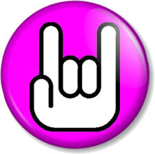 """Rock On Hand Symbol 25mm 1"""" Pin Button Badge White on Pink Sign of the horns fun"""