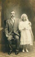 Catholic Religion Father Daughter 1st Communion C-1910 Photo Postcard 20-869