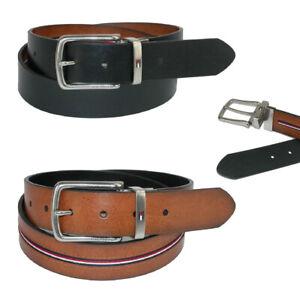 Men's Tommy Hilfiger Faux Leather Reversible Black Tan Ribbon Dress Casual Belt