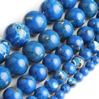 Blue Howlite Stone Round Loose Shell Beads for Jewelry Making   4/6/8/10mm 15''