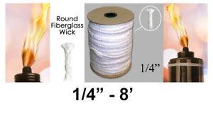 "1/4"" Round Fiberglass Wick 8 Feet Kerosene Lamp Tiki Torch Bottle Oil Candle USA"