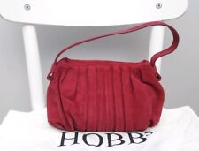 Hobbs plum pink Suede Leather Clutch Bag Purse Evening bag Occassion Small