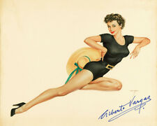ALBERTO VARGAS 1949 Pin Up Girl Restored Lithograph Print Poster Autograph