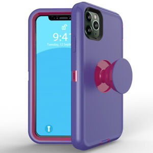 For iPhone 12 11 Pro Max XR XS 8 7 6 Plus SE Socket Stand Shockproof Hard Case