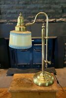 1940s Solid Brass Pharmacy Gooseneck Reading Piano Student Glass Blue Lamp Shade