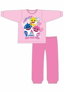 Girls Kids Baby Shark Pyjamas 12 Months to 4 Years 100% Cotton Set PJs NEW