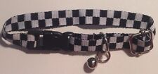 Dog/Cat Collar In Racing Checkered Flags w/Secure Snap Closure, Bell, size SM