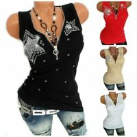 Fashion Women Zipper V Neck Sleeveless Tank Top Vest Slim Fit Summer Blouse Tops