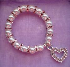 Baby Christening Baptism Personalised Name Day Keepsake Crystal Pearl Bracelet