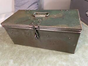 Retro Vintage M.O.D Green Metal Tool Box Re-enactment Crafting Memory Box
