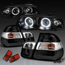 1999-2001 BMW E46 Black LED Halo Projector Headlights+Smoke Tail Brake Lamps
