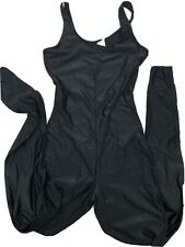 DANSKIN Vintage BLACK Nylon Lycra Unitard LONG LEG LEOTARD Bodysuit SCOOPNECK M