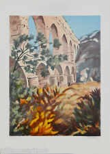 """""""AQUADUCT"""" Lithograph s/n by Paris Silver Medal Award Artist Victor Zarou"""