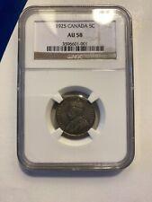 1925 CANADA Canadian Nickel 5 CENTS key date NGC AU 58 GEM AU Rare