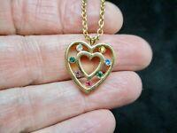 Gold Tone 1970's Gold Tone Multi Colored Rhinestone Heart Pendant/Necklace