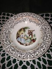 "Four Romantic Colonial Couple Gold Filigree Dessert Bowls 5 1/2"""