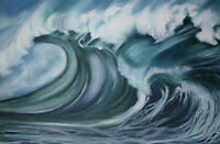 """perfact 36x24 oil painting handpainted on canvas""""sea wave"""" @NO3718"""