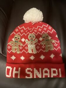 nwot womens oh snap red gingerbread knit hat