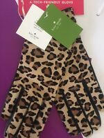 KATE SPADE NWT LEOPARD CALF HAIR LEATHER TOUCH TIPS GLOVES SIZE LARGE