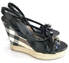 Burberry Womens Nova Check Espadrille Black Wedges Sandals Size EUR 40