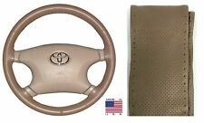 Perforated Genuine Oak Leather Steering Wheel Cover Size C Ford & Other Makes