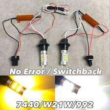 NO ERROR WHITE AMBER Switchback LED Rear Signal Bulb DRL T20 W21W 7440 992 W1 J