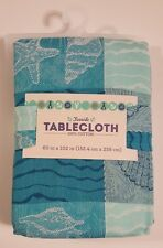 Seashells Tablecloth 60x102 Coastal Plaid Woven Cotton Seaside Teal Blue Green