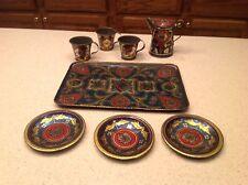Vintage Tin Litho Tea Set Butterflies & Flowers 8 Pieces Tray Tea Pot Cups