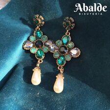Pendientes Joya Mujer Flor Cristal Verde Vintage Perla Accesorio Regalo Navidad
