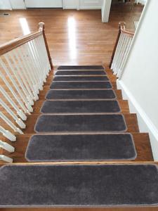 Carpet Stair Treads NON-SLIP MACHINE WASHABLE Mats/Rugs, 22x67cm, 11mm-Dark Grey