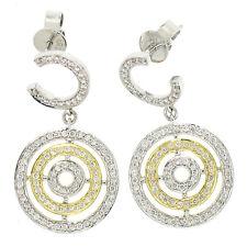MODERN 14k Yellow White Gold 1.2ctw Multi Circle Pave Diamond Dangle Earrings