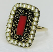 INSCRIBED 1825 GEORGIAN RIng 10K Yellow GOLD, Red CORAL, Seed PEARLS, Enameled
