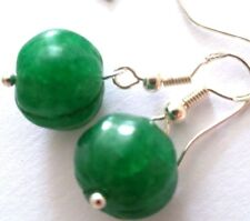 Lovely Pair of 925 Silver Natural Green Emerald Earrings, (A4)
