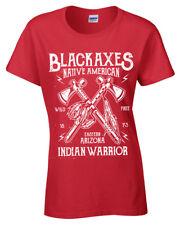 Negro Ejes Camiseta Mujer S-5XL Retro Nativo Warrior arizona USA Mujer