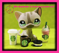 🌺Littlest Pet Shop LPS 5 Pc Custom STARBUCKS & TREAT Doll Accessories Set LOT🌺