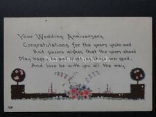 Your Wedding Anniversary CONGRATULATION FOR THE YEARS..... Old Postcard