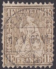 Switzerland - 1864 - 1 Franc Yellowish Bronze Seated Helvetia Issue # 50a Used