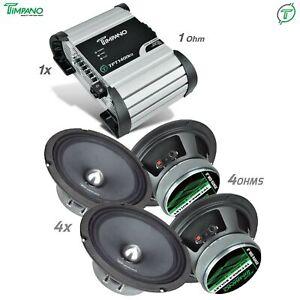 """4x TPT-MR8-4 BULLET 8"""" Speakers + TPT-1400EQ 1 Ohm Amplifier Pro Audio Car Amp"""