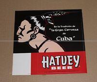 STICKER HATUEY BEER CERVEZA DE CUBA - VINTAGE COLLECTOR