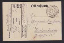 GERMANY 1915 FELDPOST POSTCARD FELDLAZARETT REGIMENTAL CANCEL TO DRESDEN
