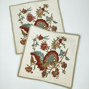 Pottery Barn Set Of 2 Square 19x19 Crewel Embroidered Floral Pillow Covers Throw