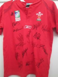 Wales 2007 WC Squad Signed Rugby Union Home Shirt COA