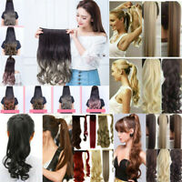 Women Natural Real Human Hair Wrap Around Ponytail Clip On Long Hair Extensions